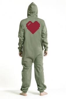 Comfy Armygreen, Heart, Jumpsuit - 4874