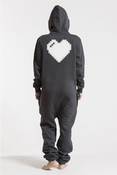 Comfy Dark Grey & Silver, Heart, Jumpsuit - 5394