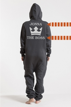 Comfy Dark Grey & Silver, The Boss, Onesie - 5623